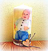 Svietidlá a sviečky - sviečka s vlastnou fotkou a srdieckami - 5805882_