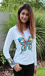 Tričká - Tričko s farebným motýľom-Motýlie krídla - 5806802_