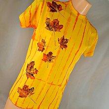 Tričká - Žluto-oranžové batikované triko s listy L - 5805974_