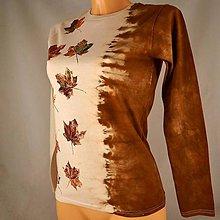 Tričká - Béžovo-hnědé batikované dámské triko s listy S - 5806089_