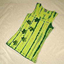 Topy - Zelené dámské tílko s listy L - 5806153_