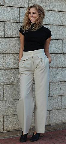 Nohavice - Světle béžové široké kalhoty se zvýšeným pasem - 5809871_