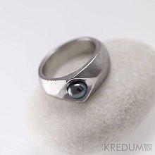 Prstene - Zásnubní prsten nerezový s černou perlou - Gracia steel - 5810080_