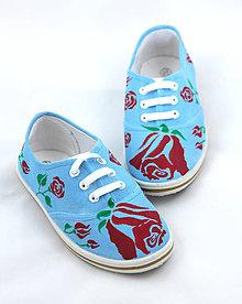 Topánočky - modré ružičkové - 5809618_