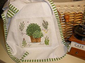 Úžitkový textil - Ozdobná kuchynská utierka-bylinky - 5810760_