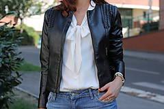 - Čierna koženková bunda - 5808989_