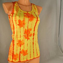 Topy - Žluto-oranžové dámské tílko s listy M - 5810386_