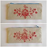 Taštičky - Ľanový peračník s kvetovou potlačou - červený - 5812969_