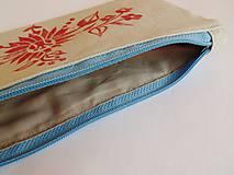 Taštičky - Ľanový peračník s kvetovou potlačou - červený - 5812973_