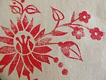 Taštičky - Ľanový peračník s kvetovou potlačou - červený - 5812975_