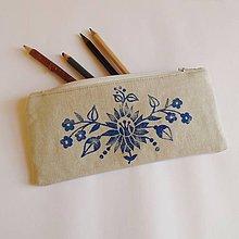 Taštičky - Ľanový peračník s kvetovou potlačou - modrý - 5812937_