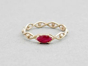 Prstene - 585/14k zlaty prsteň s prírodným rubínom - 5813385_