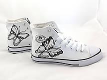 Obuv - black & white motýľové - 5812913_
