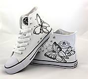 Obuv - black & white motýľové - 5812916_