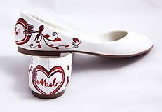 Obuv - bordovo - jantárové svadobné baleríny - 5812961_