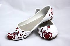 Obuv - bordovo - jantárové svadobné baleríny - 5812967_