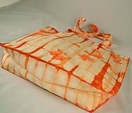 Nákupné tašky - Bavlněná taška oranžová s listy - 5812327_