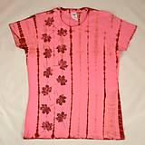 Tričká - Růžovo-vínové dámské triko s listy L - 5812333_