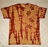 - Béžovo-hnědovínové batikované triko s listy XL - 5812335_