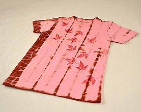 Detské oblečenie - Růžovo-vínové dětské tričko s listy (vel. 86) - 5812296_