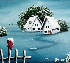 Obrazy - Zimné domčeky - olejomal'ba - 5816804_