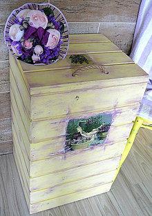 Nábytok - Viacfunkčná vanilková debna-truhla s levandulkami :) - 5817233_