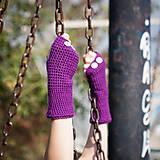 Rukavice - Fialové rukavice bez prstov - 5819991_