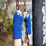 Rukavice - Modré rukavice bez prstov - 5820106_