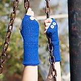 Rukavice - Modré rukavice bez prstov - 5820107_