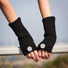 Rukavice - Čierne bodkované rukavice bez prstov - 5818825_