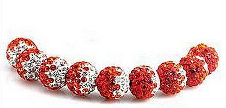 Korálky - Červené korálky disco gulôčky shamballa 10mm (balíček 10ks) - 5820862_
