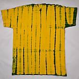 Tričká - Žluto-zelené batikované triko s listy L - 5819224_