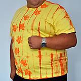Tričká - Žluto-oranžové batikované triko s listy 3XL - 5819836_