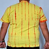 Tričká - Žluto-oranžové batikované triko s listy 3XL - 5819838_