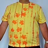 Tričká - Žluto-oranžové batikované triko s listy 3XL - 5819839_