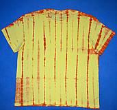Tričká - Žluto-oranžové batikované triko s listy 3XL - 5819842_