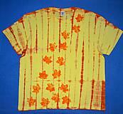 Tričká - Žluto-oranžové batikované triko s listy 3XL - 5819843_