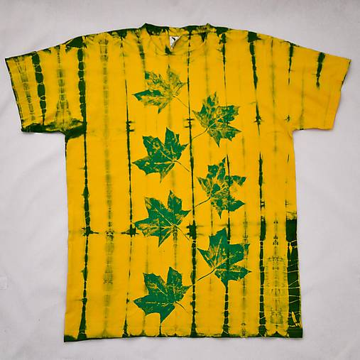 Žluto-zelené batikované triko s listy L