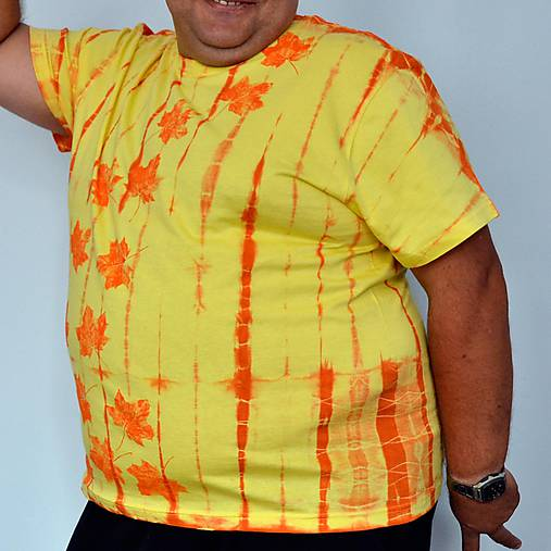 Žluto-oranžové batikované triko s listy 3XL