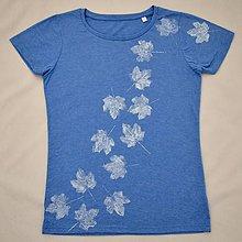 Tričká - Melírované modré dámské triko s bílými listy L - 5819283_