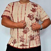 Tričká - Béžovo-hnědovínové batikované triko s listy 3XL - 5819766_