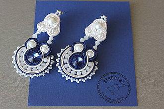 Náušnice - na ľudovú nôtu - štebotavé šujtášové náušnice (bielo-modré) - 5822248_