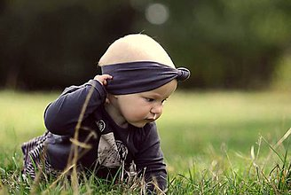 Detské doplnky - Čelenka se sukem tmavošedá - 5824128_