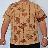 Oblečenie - Béžovo-hnědé batikované triko s listy 3XL - 5822378_