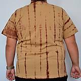 Oblečenie - Béžovo-hnědé batikované triko s listy 3XL - 5822379_