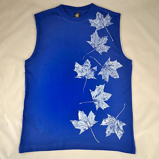Pánské modré tílko s bílými listy L