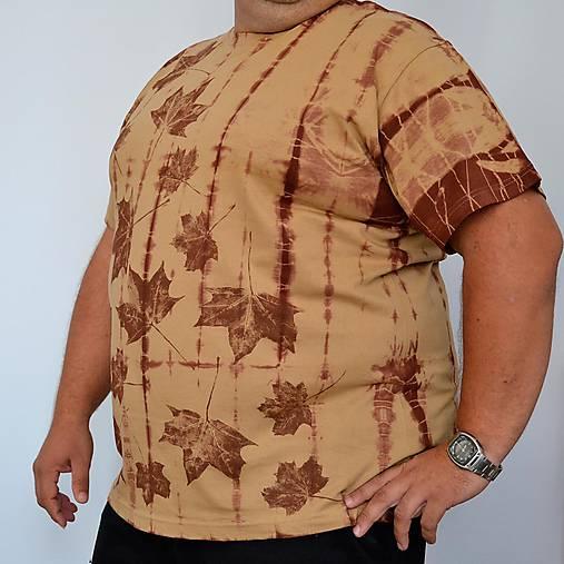 Béžovo-hnědé batikované triko s listy 3XL