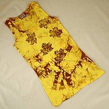 Topy - Žluto-hnědé dámské tílko s listy L - 5822028_