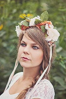 Ozdoby do vlasov - Broskyňová svadobná parta - 5830364_