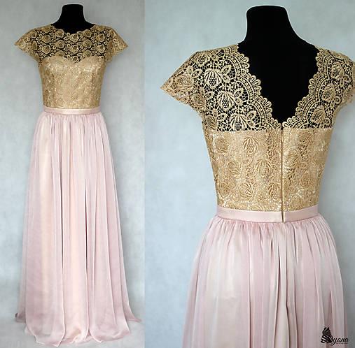Spoločenské šaty z hrubej krajky a hodvábneho šifónu rôzne farby ... f5dc057a98